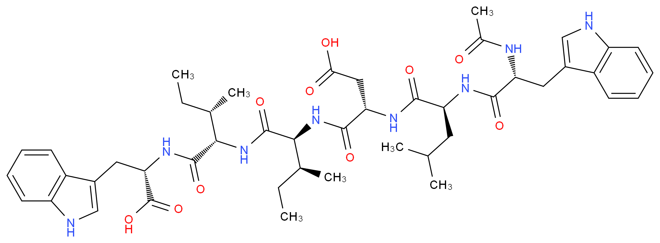 (3S)-3-{[(1S,2S)-1-{[(1S,2S)-1-{[(1S)-1-carboxy-2-(1H-indol-3-yl)ethyl]carbamoyl}-2-methylbutyl]carbamoyl}-2-methylbutyl]carbamoyl}-3-[(2S)-2-[(2R)-2-acetamido-3-(1H-indol-3-yl)propanamido]-4-methylpentanamido]propanoic acid_分子结构_CAS_143037-33-6