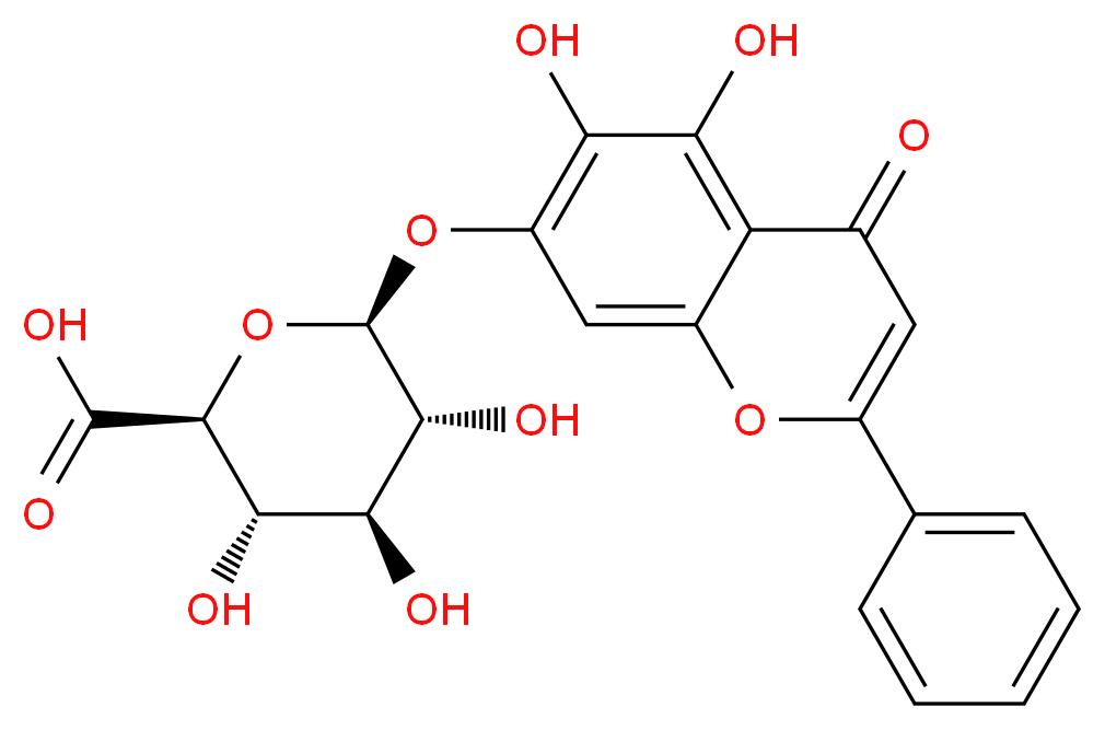 (2S,3S,4S,5R,6S)-6-[(5,6-dihydroxy-4-oxo-2-phenyl-4H-chromen-7-yl)oxy]-3,4,5-trihydroxyoxane-2-carboxylic acid_分子结构_CAS_21967-41-9