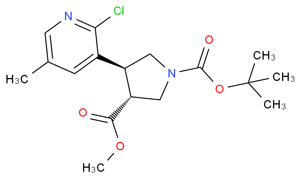(Racemic trans)-1-tert-butyl 3-methyl 4-(2-Chloro-5-methylpyridin-3-yl)pyrrolidine-1,3-dicarboxylate_分子结构_CAS_)