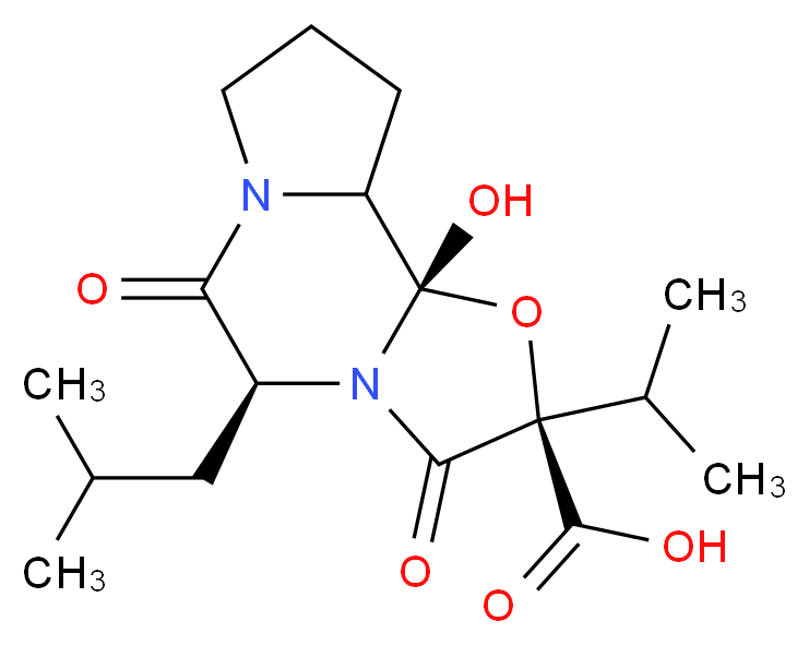 (2S,4R,7S)-2-hydroxy-7-(2-methylpropyl)-5,8-dioxo-4-(propan-2-yl)-3-oxa-6,9-diazatricyclo[7.3.0.0<sup>2</sup>,<sup>6</sup>]dodecane-4-carboxylic acid_分子结构_CAS_24177-07-9