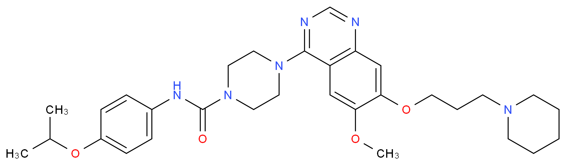 4-{6-methoxy-7-[3-(piperidin-1-yl)propoxy]quinazolin-4-yl}-N-[4-(propan-2-yloxy)phenyl]piperazine-1-carboxamide_分子结构_CAS_387867-13-2