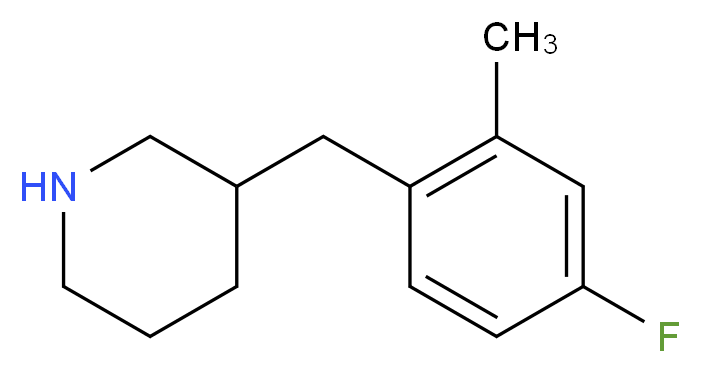3-(4-FLUORO-2-METHYL-BENZYL)-PIPERIDINE_分子结构_CAS_955315-13-6)