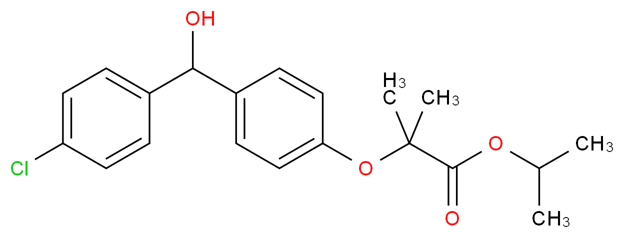 propan-2-yl 2-{4-[(4-chlorophenyl)(hydroxy)methyl]phenoxy}-2-methylpropanoate_分子结构_CAS_61001-99-8