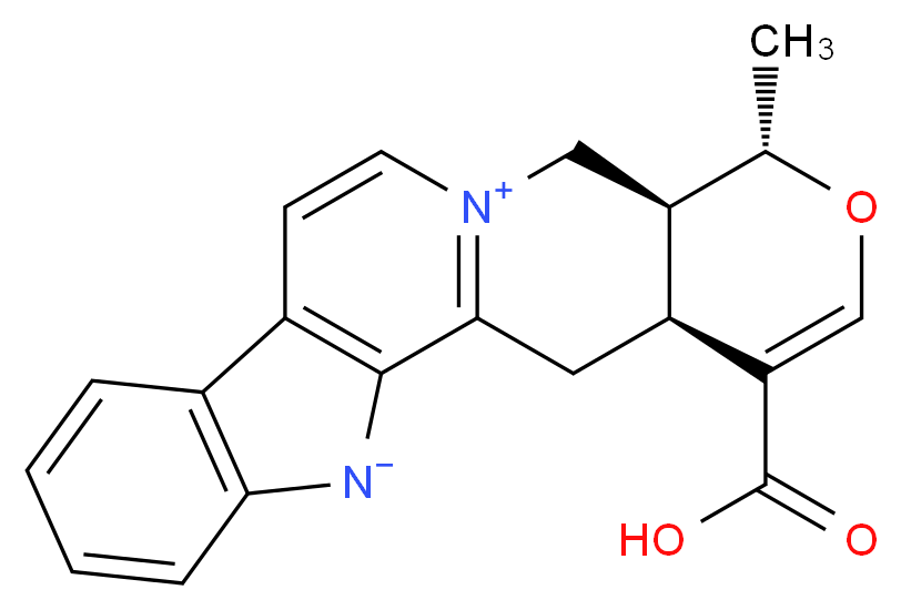 (15S,16S,20S)-19-carboxy-16-methyl-17-oxa-3,13λ<sup>5</sup>-diazapentacyclo[11.8.0.0<sup>2</sup>,<sup>1</sup><sup>0</sup>.0<sup>4</sup>,<sup>9</sup>.0<sup>1</sup><sup>5</sup>,<sup>2</sup><sup>0</sup>]henicosa-1(13),2(10),4(9),5,7,11,18-heptaen-13-ylium-3-ide_分子结构_CAS_1422506-53-3