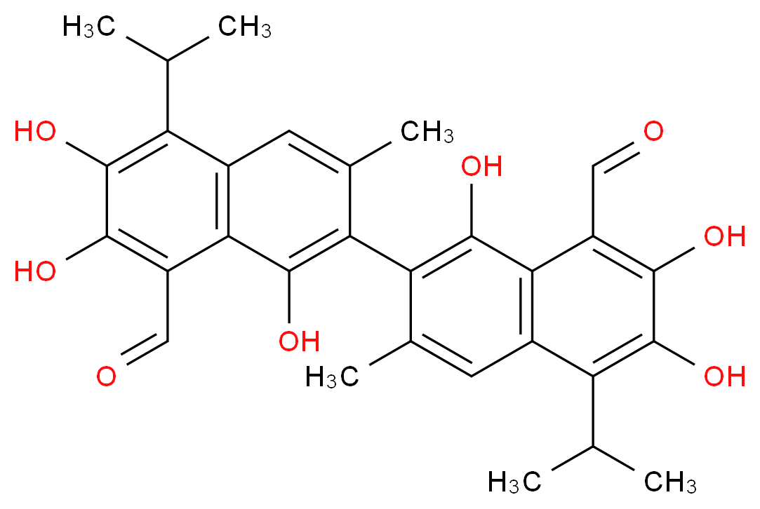 7-[8-formyl-1,6,7-trihydroxy-3-methyl-5-(propan-2-yl)naphthalen-2-yl]-2,3,8-trihydroxy-6-methyl-4-(propan-2-yl)naphthalene-1-carbaldehyde_分子结构_CAS_303-45-7