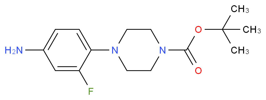 tert-butyl 4-(4-amino-2-fluorophenyl)piperazine-1-carboxylate_分子结构_CAS_1000053-23-5