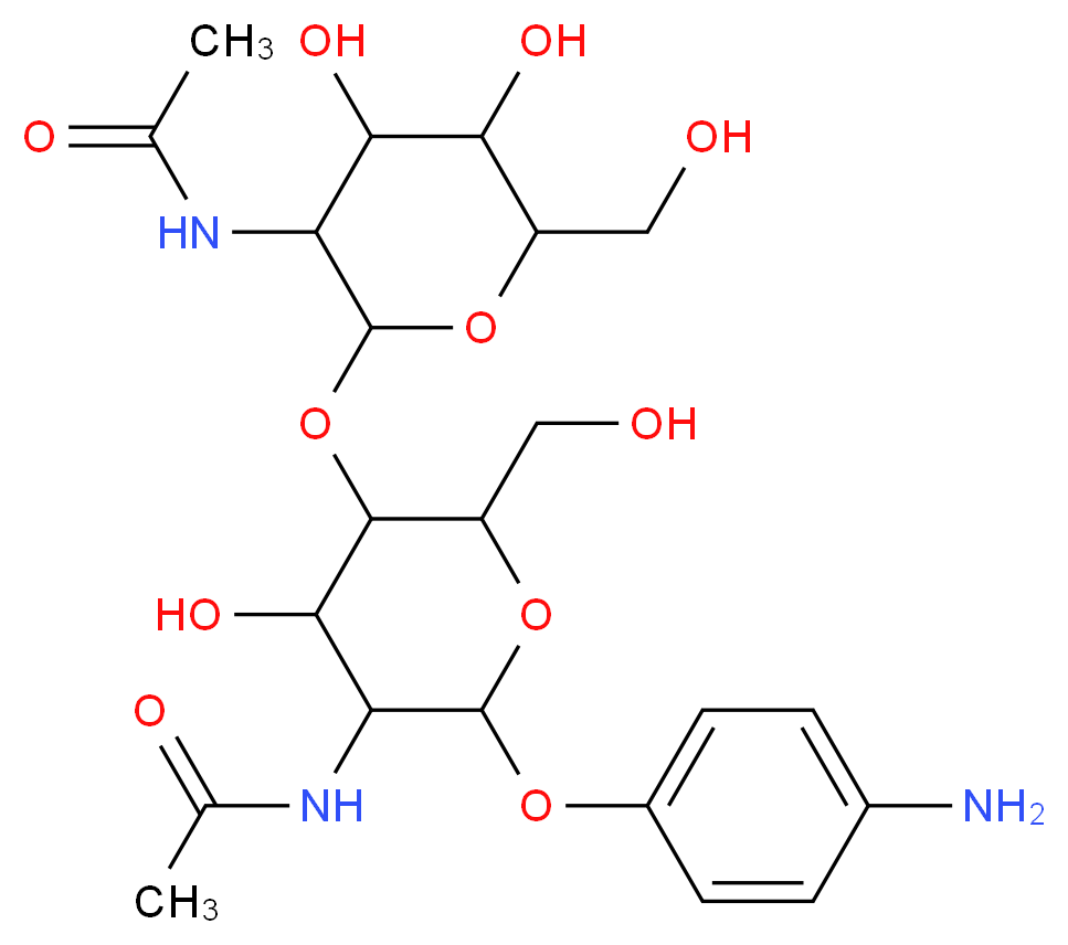 N-(2-{[6-(4-aminophenoxy)-5-acetamido-4-hydroxy-2-(hydroxymethyl)oxan-3-yl]oxy}-4,5-dihydroxy-6-(hydroxymethyl)oxan-3-yl)acetamide_分子结构_CAS_102029-83-4